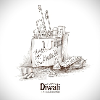 Croquis de craquelins diwali dessinés à la main