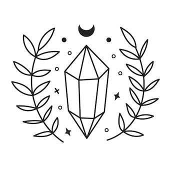 Croquis de cristal. cristaux d'art en ligne dessinés à la main, feuilles, lune, étoiles.