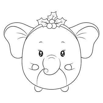 Croquis de dessin animal mignon joyeux noël à colorier avec des baies