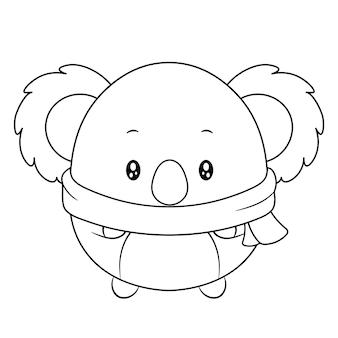 Croquis de dessin animal mignon joyeux noël à colorier