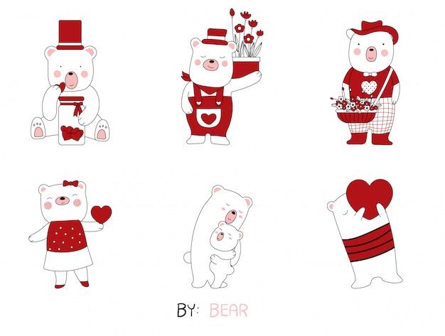 Croquis de dessin animé les animaux de bébé ours mignon posture.