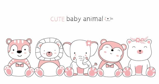 Croquis de dessin animé les animaux mignons avec des amis style dessiné à la main