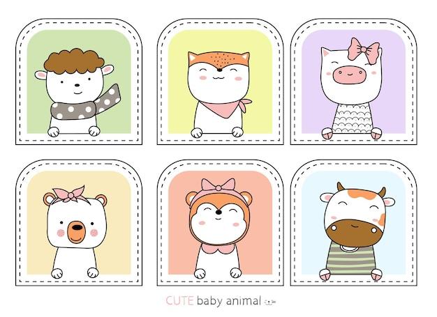 Croquis de dessin animé les animaux mignons style dessiné à la main