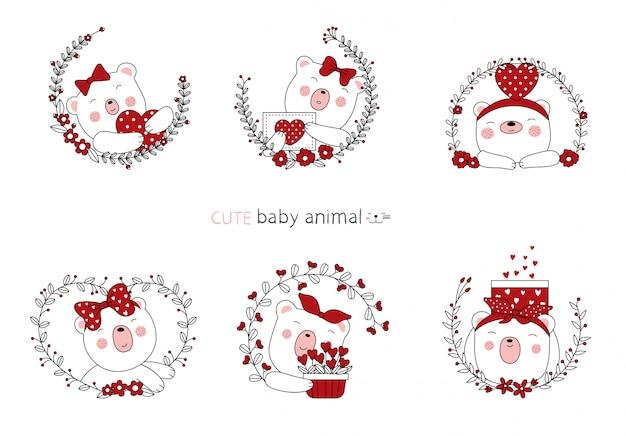 Croquis de dessin animé les beaux bébés animaux ours avec fleur