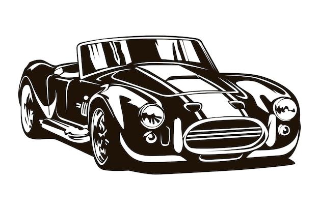 Croquis de dessin animé inspiré de voitures de muscle vintage.