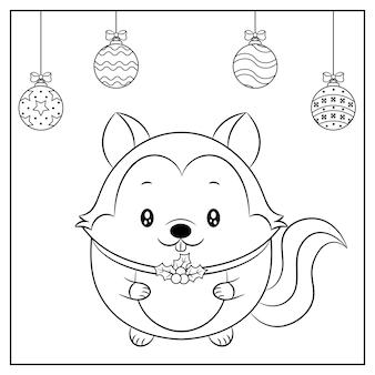 Croquis de dessin écureuil mignon joyeux noël avec ornements