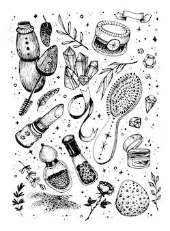 Croquis de dessin à la main produits de maquillage et de manucure ensemble de cosmétiques avec des cristaux magiques doodle de ligne vectorielle