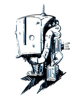 Croquis, dessin d'un robot cyberpunk