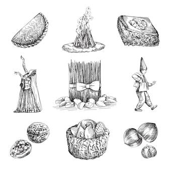 Croquis dessiné à la main des attributs de vacances de novruz. shekerbura, pakhlava, samani, chapeau plein de pâtisseries, fille dansant en tenue nationale, kosa, noix, noix, noisette