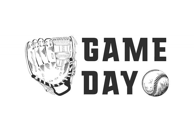 Croquis dessiné de main de balle et gant de baseball