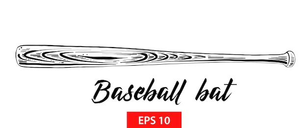Croquis dessiné main de batte de baseball en noir