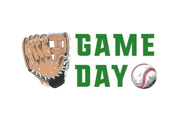 Croquis dessiné à la main de batte de baseball avec typographie de motivation jour de match