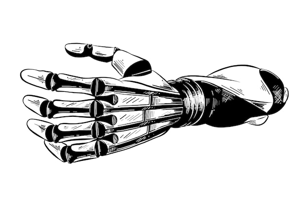 Croquis dessiné main de bras robotique en noir