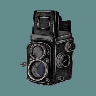 Croquis dessiné de la main d'une caméra