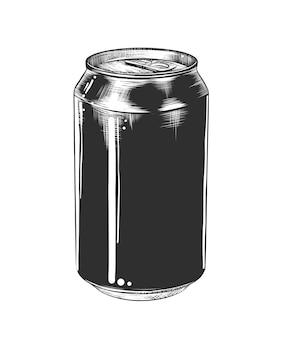 Croquis dessiné à la main d'une canette d'aluminium en monochrome