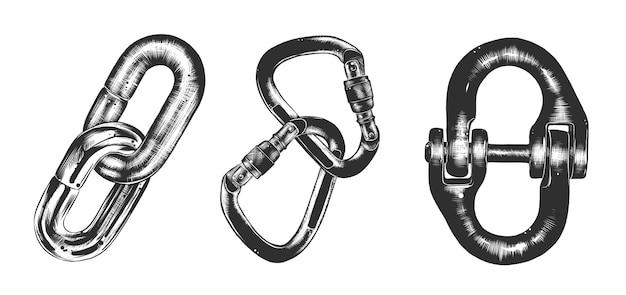 Croquis dessiné main de chaîne de bloc en monochrome