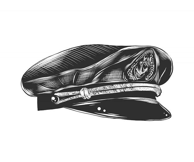 Croquis dessiné main de chapeau de capitaine en monochrome