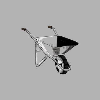 Croquis dessiné à la main sur chariot de jardin en fer, brouette ou chariot
