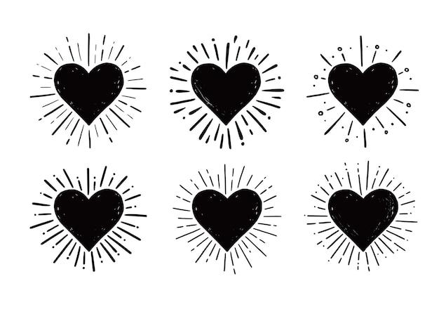 Croquis dessiné main coeur hipster sunburst