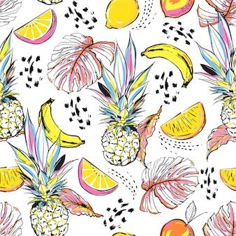 Croquis dessiné main coloré fruits d'été