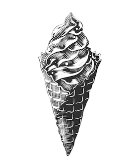 Croquis dessiné main de cornet de crème glacée