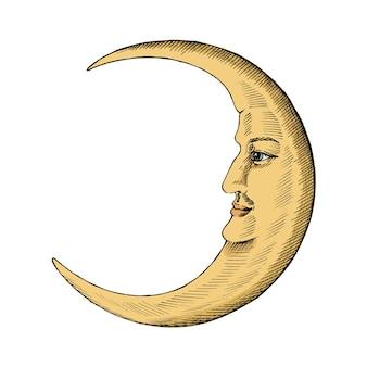 Croquis dessiné main d'un croissant de lune
