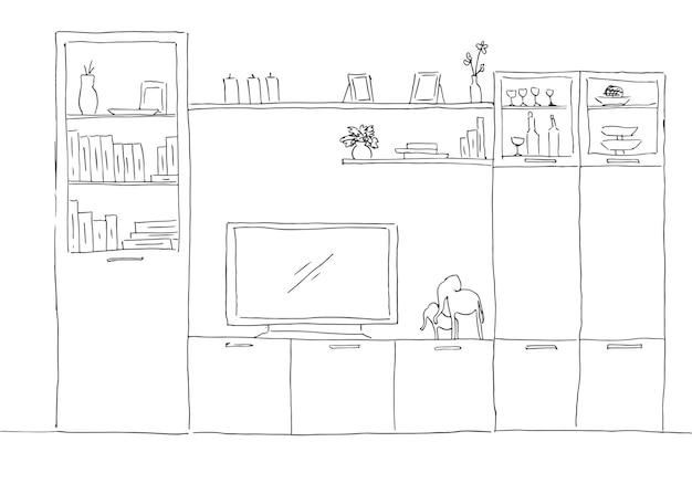Croquis dessiné à la main. croquis linéaire de l'intérieur. bibliothèque, commode avec tv et étagères. illustration vectorielle