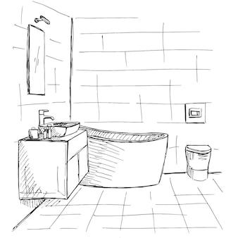 Croquis dessiné à la main. croquis linéaire d'un intérieur. une partie de la salle de bain. illustration vectorielle