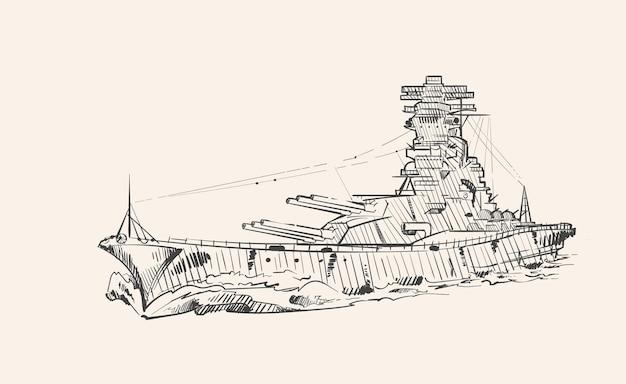 Croquis dessiné de main de cuirassé yamato
