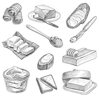 Croquis dessiné main du jeu d'illustrations de beurre