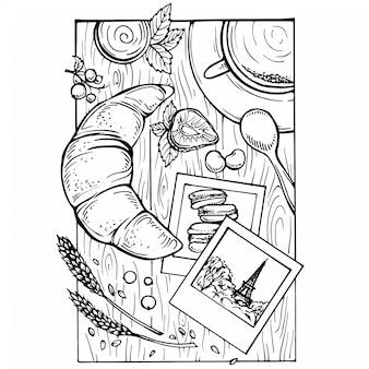 Croquis dessiné à la main du petit déjeuner français - café, croissants, confiture, fraises et cassis sur une table en bois blanc rustique