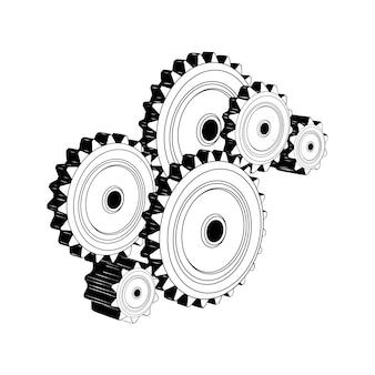 Croquis dessiné à la main des engrenages mécaniques