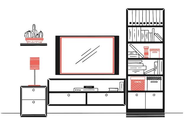 Croquis dessiné à la main. esquisse linéaire de l'intérieur. bibliothèque, commode avec tv et étagères. illustration