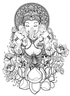 Croquis dessiné main ganesh chaturthi noir et blanc