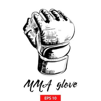 Croquis dessiné main de gant mma en noir