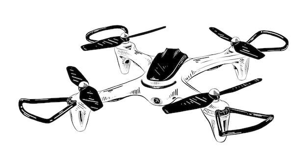 Croquis dessiné main d'hélicoptère en noir