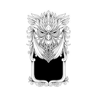 Croquis dessiné à la main hibou cadre ornement décoration