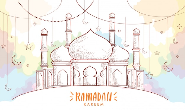 Croquis dessiné main de lanterne pour carte de voeux de ramadan avec fond aquarelle.