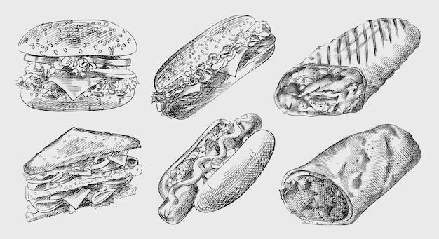 Croquis dessiné à la main de la malbouffe et des collations (jeu de restauration rapide). l'ensemble comprend un gros cheeseburger, un hot-dog avec de la moutarde, un sandwich au club, un sandwich, un shawarma, des fajitas, un burrito