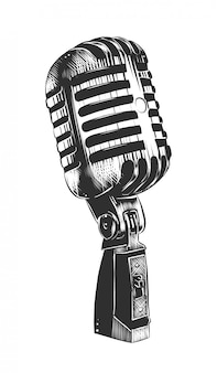 Croquis dessiné main de microphone en monochrome