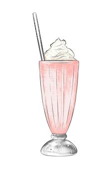 Croquis dessiné main de milkshake en coloré