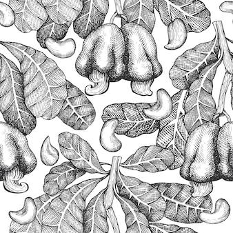 Croquis dessiné main modèle sans couture de noix de cajou