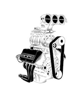 Croquis dessiné main de moteur de voiture