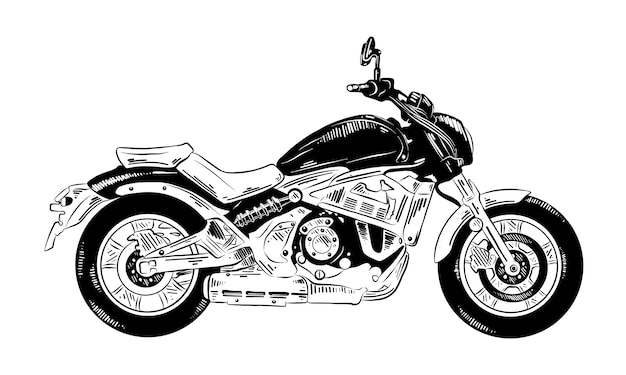 Croquis dessiné main de motocycle en noir