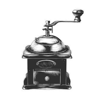 Croquis dessiné main de moulin à café en monochrome