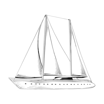 Croquis dessiné main de navire de mer en noir