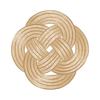Croquis dessiné à la main d'un nœud de corde dans un dessin de style de gravure sur bois vintage détaillé et coloré