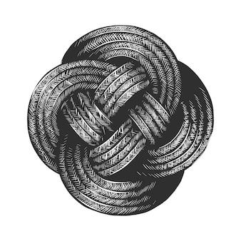 Croquis dessiné main de noeud de corde en monochrome