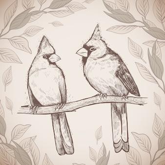 Croquis dessiné à la main une paire d'oiseaux des cardinaux rouges