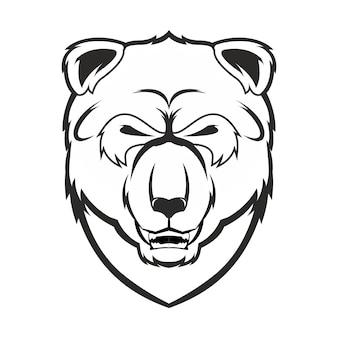 Croquis dessiné main panda en monochrome